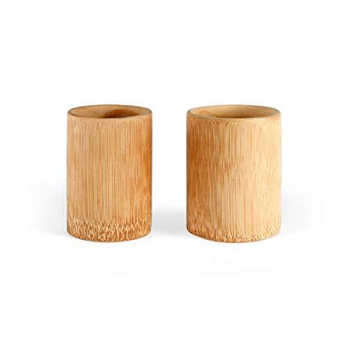 LIVOO MES132 - Juego de vasos de bambú (100 ml, redondos, 2 vasos para niños, respetuosos con el medio ambiente, 2 piezas, soporte para bolígrafos, escritorio, sostenible