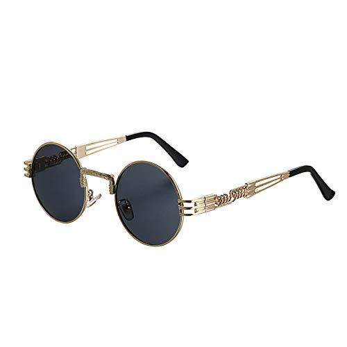 Aroncent Unisex Retro Rund Polarisierte Sonnenbrille, Vintage Gold Metallrahmen Brille für Herren Damen