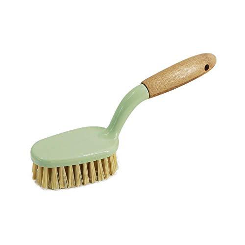 Heng Multifunctionele Keukenreinigingsborstel Bamboe Handvat Wasborstel voor het koken van bankpannen Pannen Tegels Badkamer, 1pc grote borstel