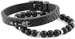 Fashionable Charmed Jewelry Bracelet for Men & Women Stylish Double Leather and Stone with Stainless Steel Clasp