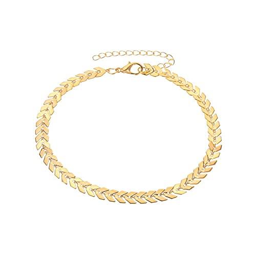 FACHA Accesorios de ropa Tobillera de playa con diamantes de imitación borla pulsera para mujer joyería retro tobillera de yoga (color: dorado, tamaño: M)