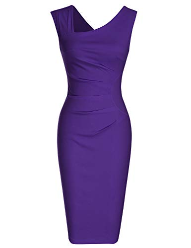MUXXN Women's Cut Out Neck Ruched Waist Purple Bridesmaid Dress (L Purple)