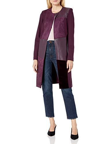 Calvin Klein Women's Mixed Media Topper Jacket, aubergine, 10