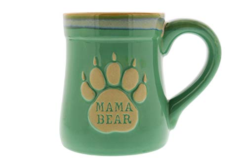 Mama Bear Coffee Mug, 18oz – Ceramic Coffee Mug with Nobody Messes with My Cubs Quote – This Mug for Mom Makes a Great Gift – Features Cute Bear Paw Shape