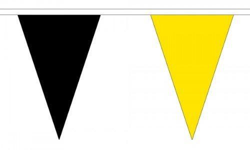 5Meter 12(30,5x 20,3cm) schwarz & gelb Triangle Die dreieckige Flagge 100% Polyester Material Wimpelkette ideal Party Dekoration für Street House Kneipen Vereine Schulen St. Davids Tag