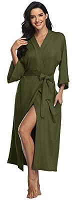 Women's Long Cotton Kimono Robes Lightweight Knit Bathrobe Soft Sleepwear V-Neck Ladies Loungewear