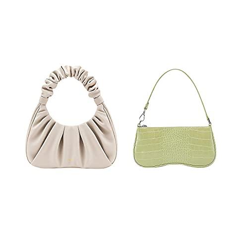 JW PEI Women Shoulder Bag 90s Vegan Leather Crocodile Bags Light Green, JW PEI Gabbi Bag Vegan Leather Vintage Hobo Handbags Beige