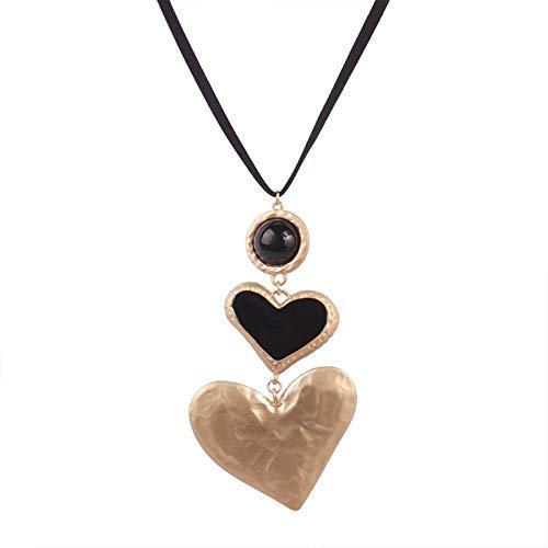 RQWY Collar Moda Big Love Heart Collar Gargantilla Collares para Mujeres Vintage Collares Pendientes Regalos de Fiesta de Boda