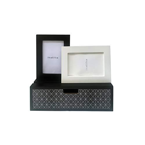 Rebecca Meubelstuk RE6289 Mini dressoir met 2 fotolijsten en 1 lade, fotolijst, hout, zwart/Scandinavisch, moderne inrichting, MDF, 27 x 30 x 9 cm (HxBxD)