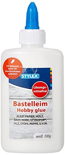 Stylex 23373 - Weißer Bastelleim, 100 g, lösungsmittelfrei, klebt kraftvoll & schnell, perfekt zum Basteln, für viele Materialien geeignet