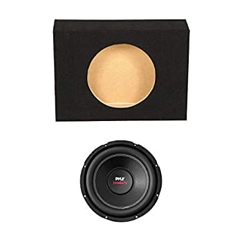 QPower Single 10 Inch Shallow Sealed Truck Subwoofer Enclosure Speaker Box and Pyle PLPW10D 1000 Watt DVC 4 Ohm Car Audio Subwoofer Speaker