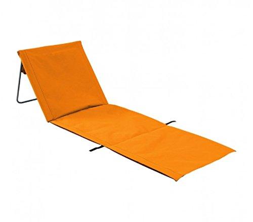 Fair Sedia Stuoia con Cuscino Reclinabile Spiaggia Giardino Richiudibile Trasportabile Solida e Leggera Arancio