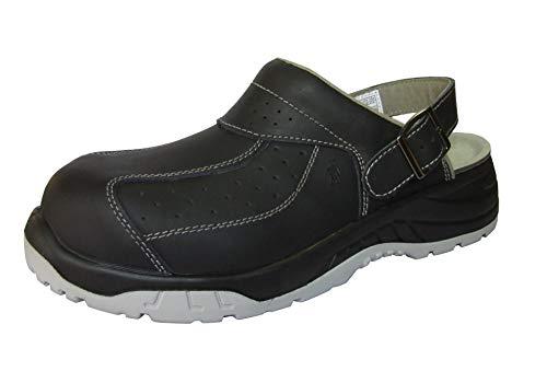 EuroRoutier Premium Full Leather Black, Zuecos Zapato de Seguridad Certificado CE EN ISO SB+A+E+FO+SRC (45 EU)