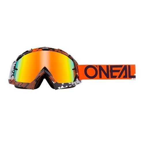 O'NEAL   Fahrrad- & Motocross-Brille   MX MTB DH FR Downhill Freeride   Hochwertige 1,2 mm-3D-Linse für ultimative Klarheit, UV-Schutz   B-10 Goggle   Erwachsene Unisex   Orange Weiß   One Size