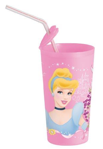 Disney prinses 734208 - prinses beker met rietdrager 7,5 x 13,5 cm