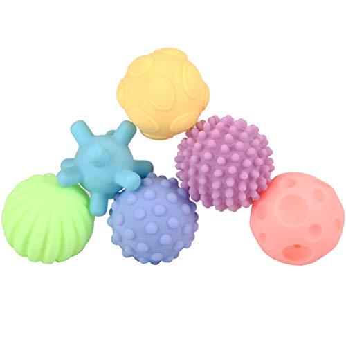 YiGo Bebé sensoriales Bolas de Silicona Suave Masaje Bola del bebé con Textura de múltiples Bolas de Colores para niños 6pcs Pelota de Juguete Tacto de la Mano