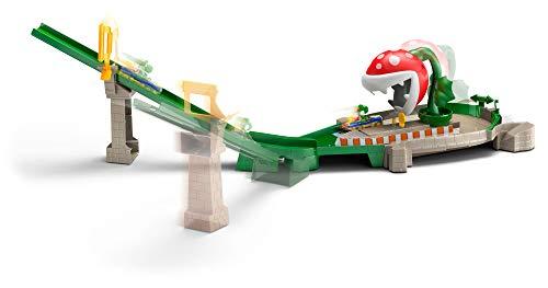 Hot Wheels GFY47 - Mario Kart Piranhapflanzen Rutsche Trackset inkl. 1 Spielzeugauto, Spielzeug ab 5 Jahren