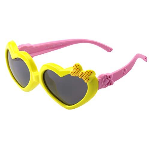 CGID Occhiali Da Sole Polarizzati Gomma Morbida a Forma di Cuore per Bambini Protezione UV400 100% con Cornice Flessibile per Bambini Ragazzi e Ragazze dai 3 ai 10 anni, K78