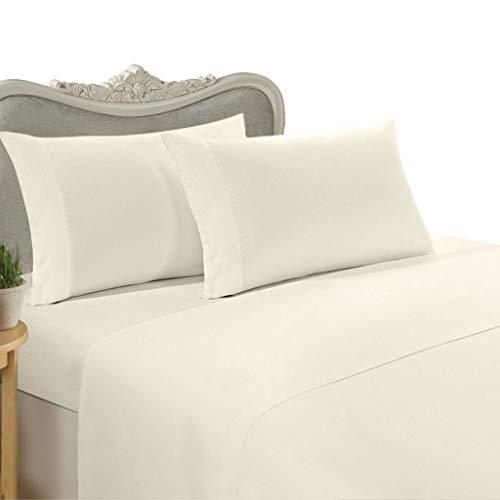 Egyptian Cotton Factory Store Parure de lit 3 pièces avec housse de couette et 2 taies d'oreiller 100 % coton égyptien 1000 fils Crème
