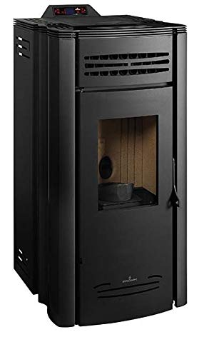 Bronpi – Estufa de pellets canalizable y salida lateral de humos, 16,4 kW, modelo Coral, color negro