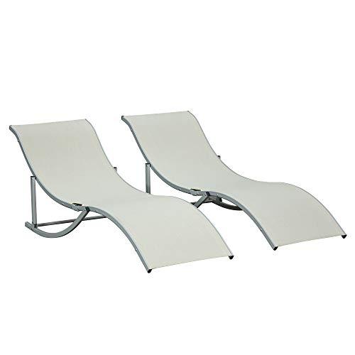 Outsunny Set 2 Sdraio da Giardino Pieghevoli, Lettino Prendisole in Alluminio e Textilene, Beige, 61x165x63cm