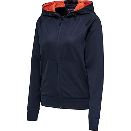 Hummel Damen Hmlaction Zip Hoodie Woman Sweatshirt, DARK SAPPHIRE/FIESTA, L