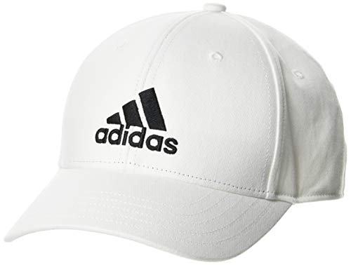adidas Unisex-Child Bball Cap Cot Baseball, White/White/Black, OSFY