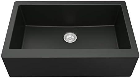 Karran Quartz Apron Front Farmhouse Kitchen Sink 34 in Single Bowl in Black product image