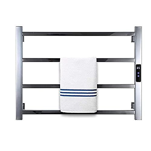 Toallero Eléctrico Radiador más cálido de toallas, baño de casa 4 bares cuadrados Toalla de tela secadora, con DIRIGIÓ Temporizador empotrado montado en la pared de la pared con calefacción el