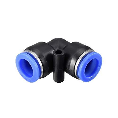 Sourcing Map Kunststoff-Winkelverbinder zum Verbinden von Rohren, 12 mm Außendurchmesser, pneumatische Druckluft, Steckverbindung, blau, 10 Stück