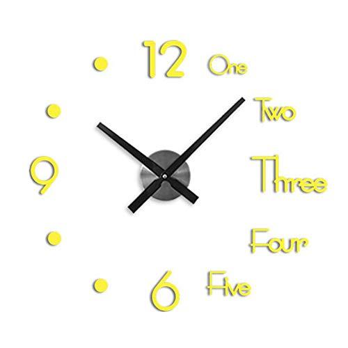 Wandklok muursticker, frameloze grote wandkloksticker Metalen grote horloges, thuis en op kantoor Mooie decoratie (gouden)