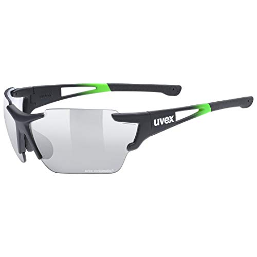 uvex Unisex– Erwachsene, sportstyle 803 race V Sportbrille, selbsttönend, black green/smoke, one size