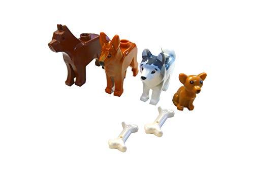 LEGO Hunde Set - Vier Verschiedene Hunde mit Knochen