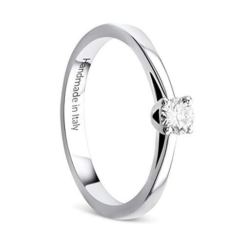Orovi Anello Donna Solitario con Diamante taglio Brillante Ct. 0.25 in Oro Bianco 14 Kt 585, Anello fatto a mano a Valenza PO