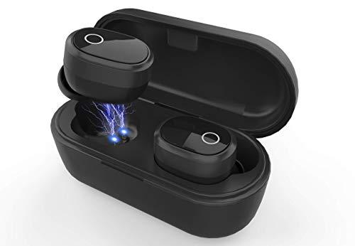 Auriculares TWS NANOPODS Bluetooth [Nueva Versión] - Mini Twins - (Auriculares inalámbricos) Resistentes al Agua con Caja de Carga y Micrófono Integrado - Compatible con iOS y Android, Negro