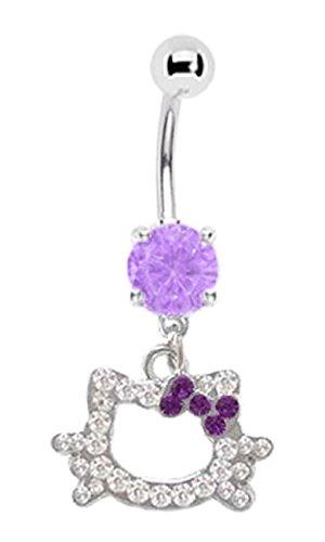 Hello Kitty Cz Gem Head Purple Bow Dangle Belly Button Navel Ring Piercing bar Body Jewelry 14g
