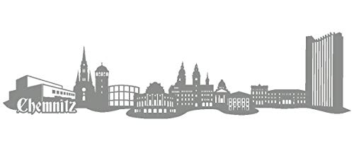 Samunshi® Wandtattoo Chemnitz Skyline Wandaufkleber in 6 Größen & 19 Farben (210x52cm Mittelgrau)