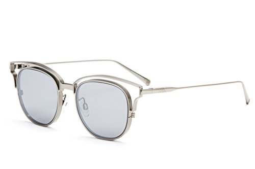 ILL.I Optics by will.i.am Gafas de sol con detalle alado, Plateado(Mirrored Silver), Talla única