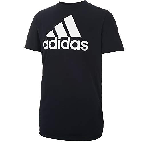adidas Boys' Big Stay Dry Moisture-Wicking AEROREADY Short Sleeve T-Shirt, Black, Large