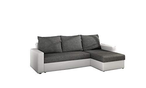 MOEBLO Ecksofa mit Schlaffunktion mit Bettkasten Couch L-Form Polstergarnitur Wohnlandschaft Polstersofa mit Ottomane Couchgranitur - LORENO...