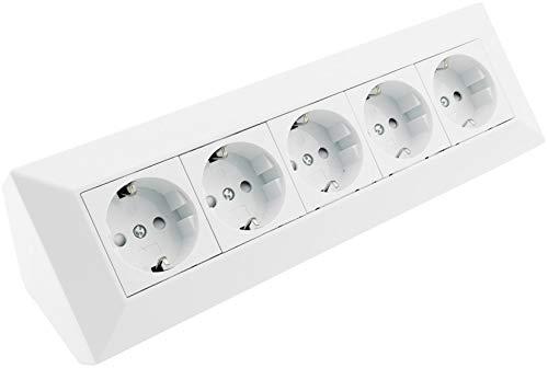 5-fach Steckdosenblock Eck-Steckdose 230V Küchensteckdose Aufbausteckdose mit 5 Steckplätzen Unterbau & Eck Montage für Arbeitsplatte Küche Werkstatt Weiß