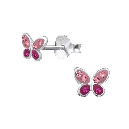 Laimons Pendientes de niños de auténtica Plata de Ley 925, forma de mariposa, color rosa
