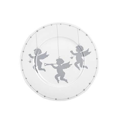 Krasilnikoff - Teller, Kuchenteller - Cherub Angels - weiß, grau - Porzellan - Ø20,5 cm