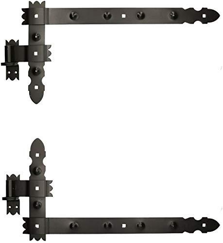 KOTARBAU® Winkelband 600 x 300 mm mit Kloben 1 Paar Fensterladenband Winkelscharnier Türband Torband Schwarz Pulverbeschichtet Fensterband Baubeschlag