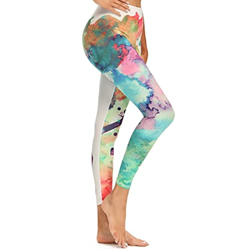 ArcherWlh Leggings Femme,Nuova Stampa Digitale Pantaloni Yoga NOKA Hips High Vita in Vita Sport Sport Fitness Nove Pants-Mare del Fiore_XL.