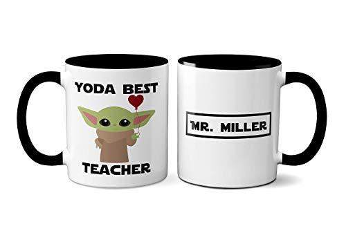 Baby Yoda Mug - Yoda Best Teacher - Mandalorian Mug - Starwars Mug, Novelty Mug, Personalized Teacher Appreciation Gift idea for Star Wars Fan - 11oz. (Black Handle)
