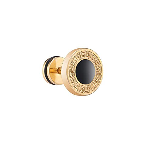 XKMY Pendientes regalos para mujer de acero inoxidable para mujer, pendientes de tuerca para hombre, con piedra negra, oro, plata, color dorado, plateado (color metálico: chapado en rodio)