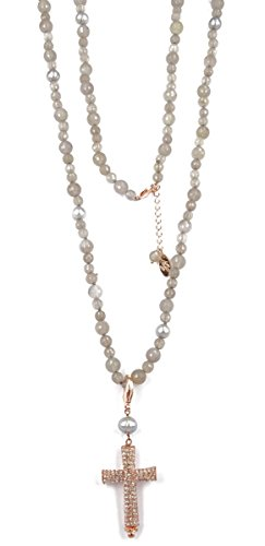 Nici Van Galen Halskette Charming grey Cross lang