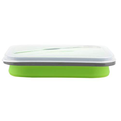 Envase de comida, fiambrera portátil fiambrera plegable, 600 ml para viajes de oficinistas, senderismo(green)