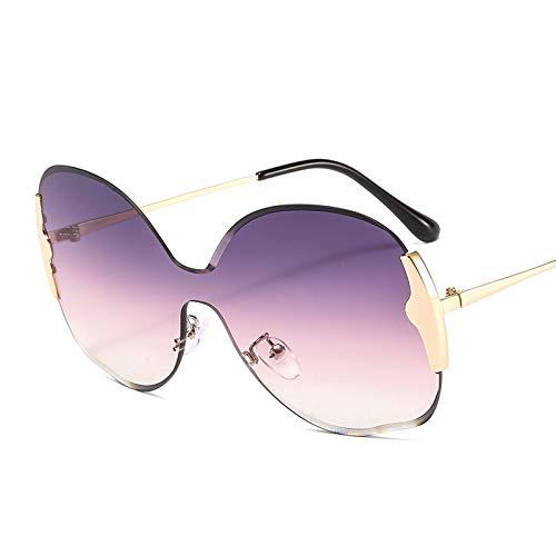 HAOMAO Gafas de Sol sin Montura de Gran tamaño Redondas con Degradado de una Pieza con Montura Grande para Mujer 7